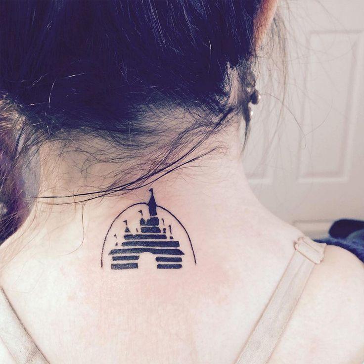 Walt Disney logo tattoo on back neck