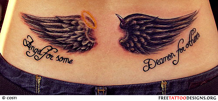 Wings of angel and demon on lower back for women