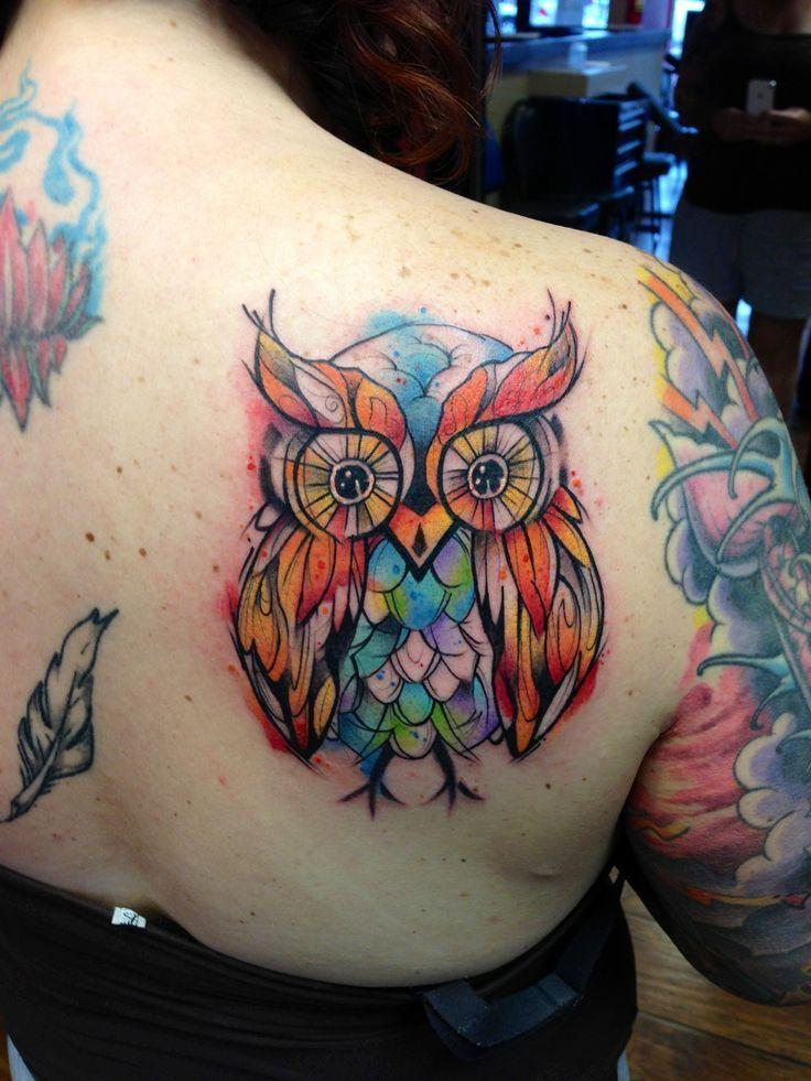 amazing watercolor owl tattoo