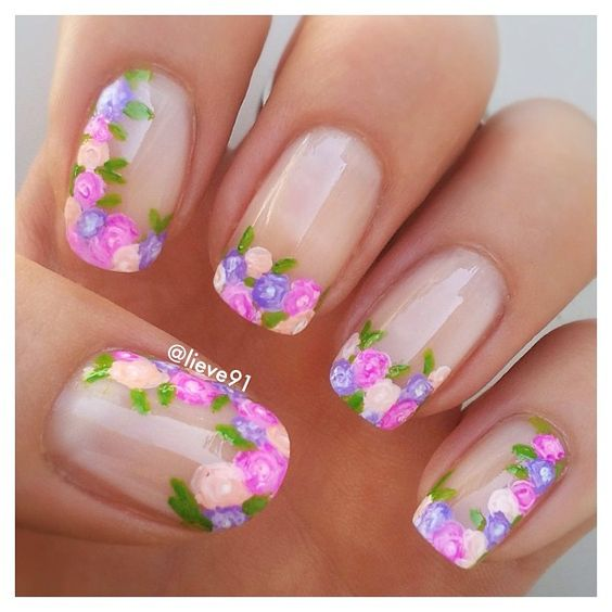 cute spring flower nails