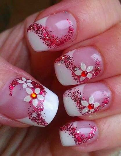 floral glitter nails