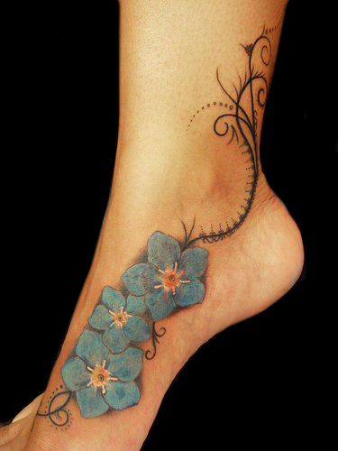 forget me not Flowers leg tattoo pattern