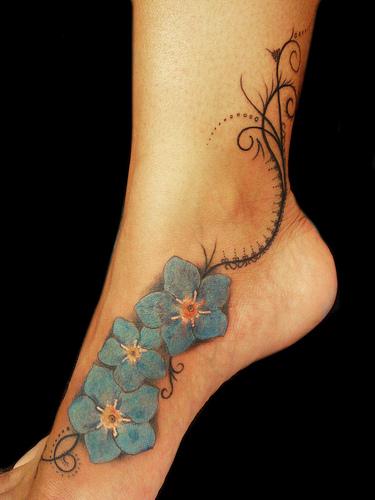 forget me not Flowers leg tattoo pattern