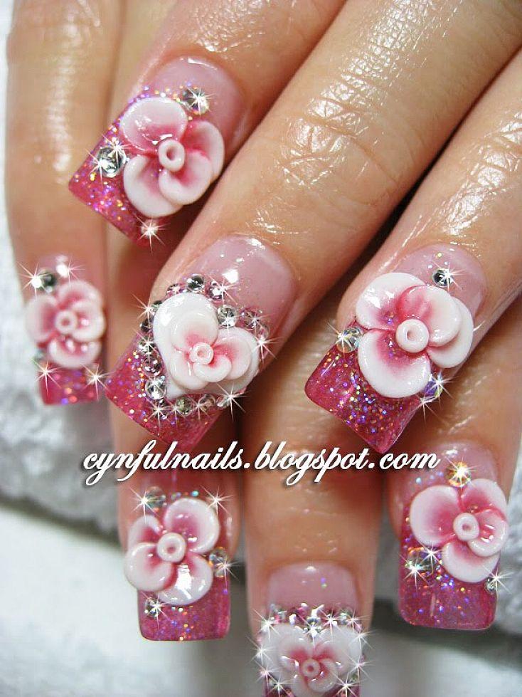 rose acrylic nails