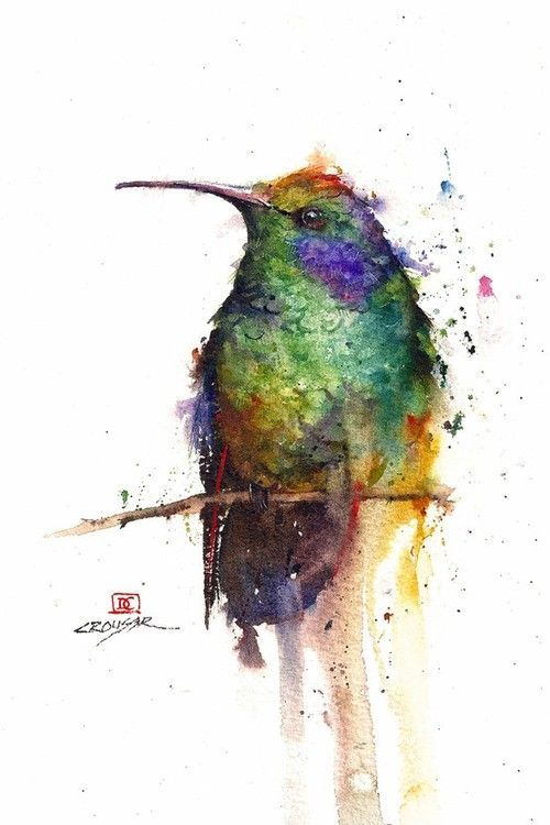 watercolor hummingbird tattoo sketch