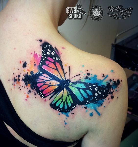 watercolor tattoo butterfly