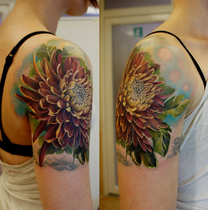 Chrysanthemum flower tattoo