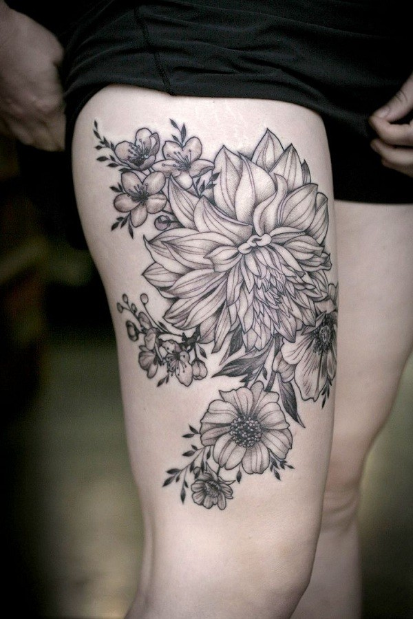 dahlia flower tattoo