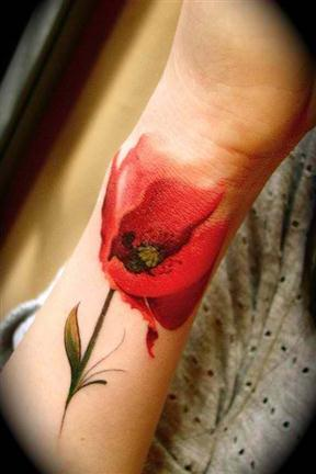 poppy flower tattoo design