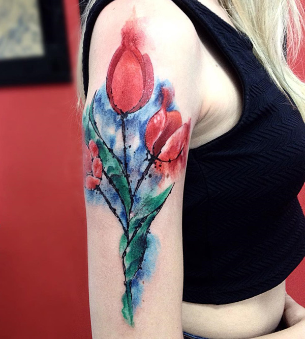 watercolor tulip tattoo