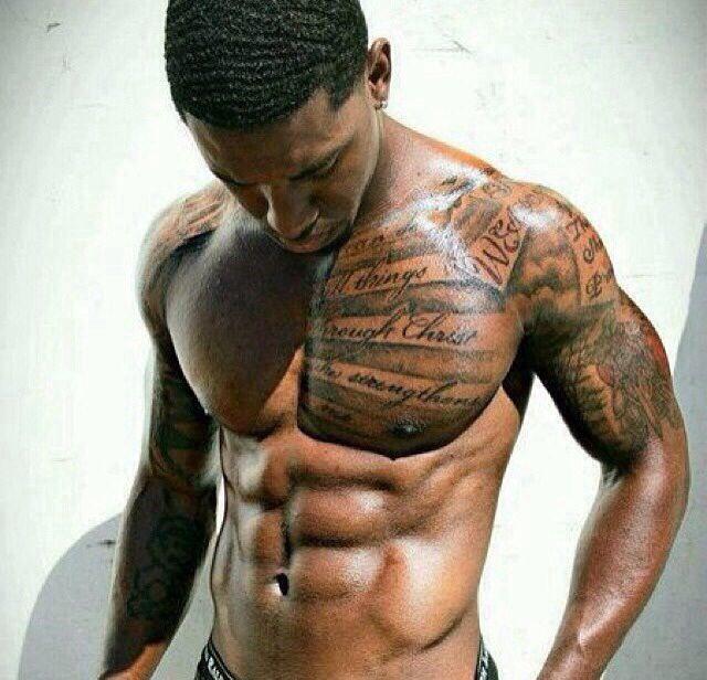 black men chest arm tattoo