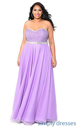 Purple empire waist strapless regular plus size prom dress