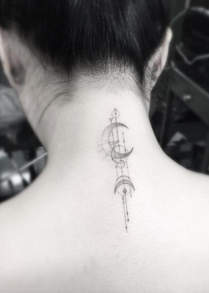Geometric Neck Tattoo idea