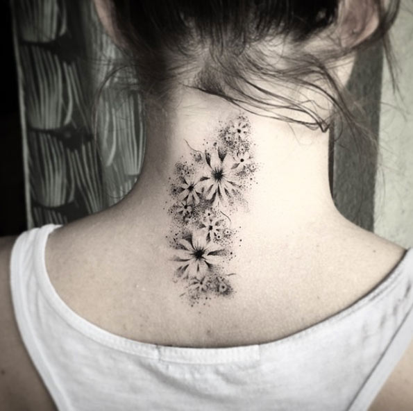 negative space flowers on neck