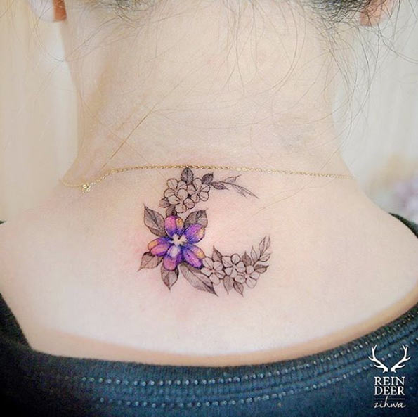 floral crescent moon tattoo on neck