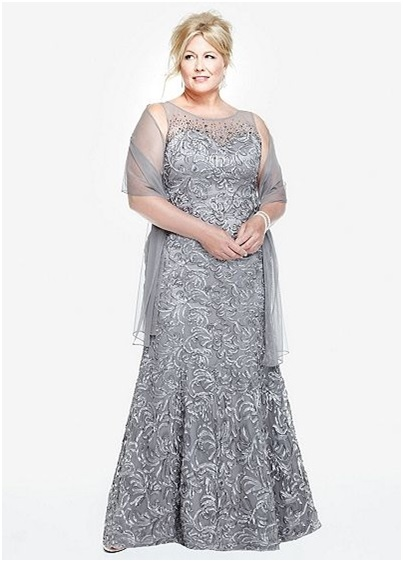 elegant silver long A-line plus size prom dress
