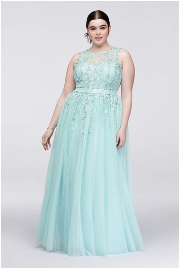 embroidered aqua blue sleeveless plus size prom dress