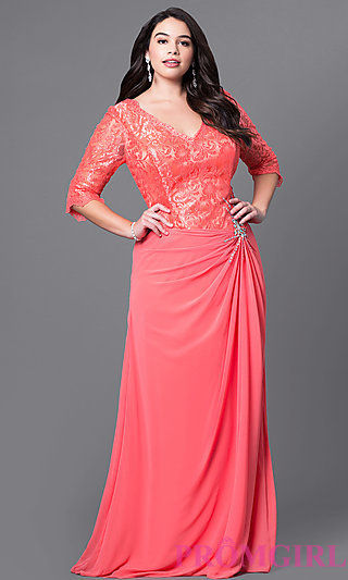 full length V neck plus size prom dress with half sleeves simplydresses