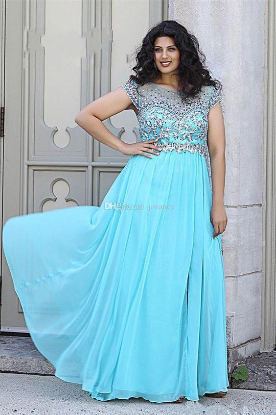 sky blue embroidery blouse and long skirt plus size prom dress