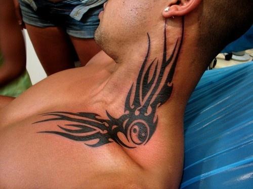 Tribal tattoo design on neck for men