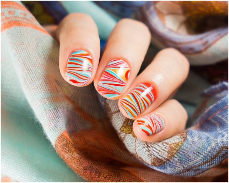 Beautiful water marble nail art design