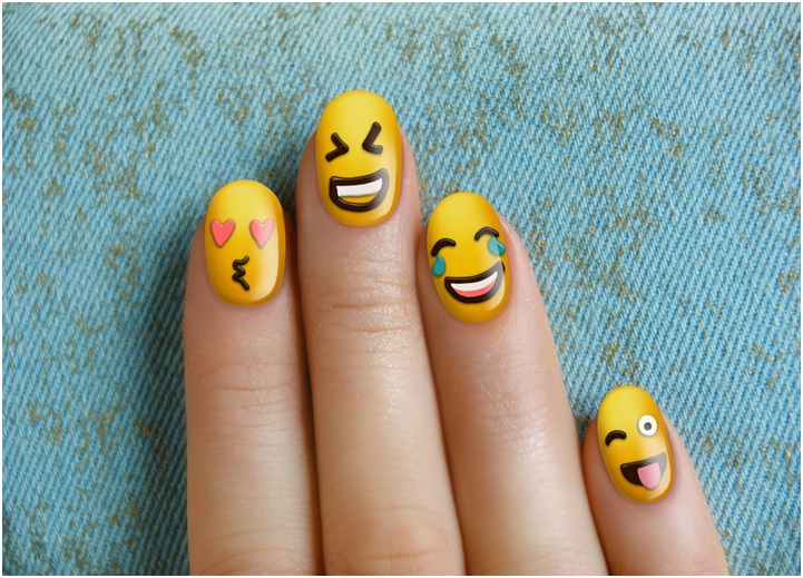 Cute funny emoji nail art