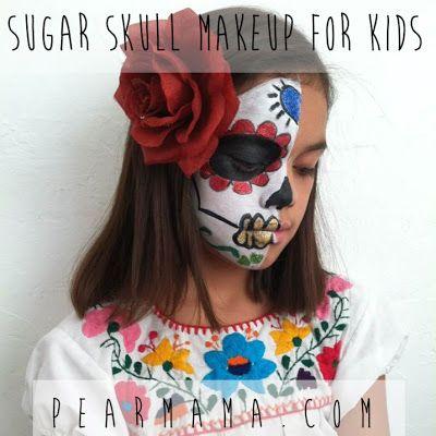 Half face sugar skull face paint
