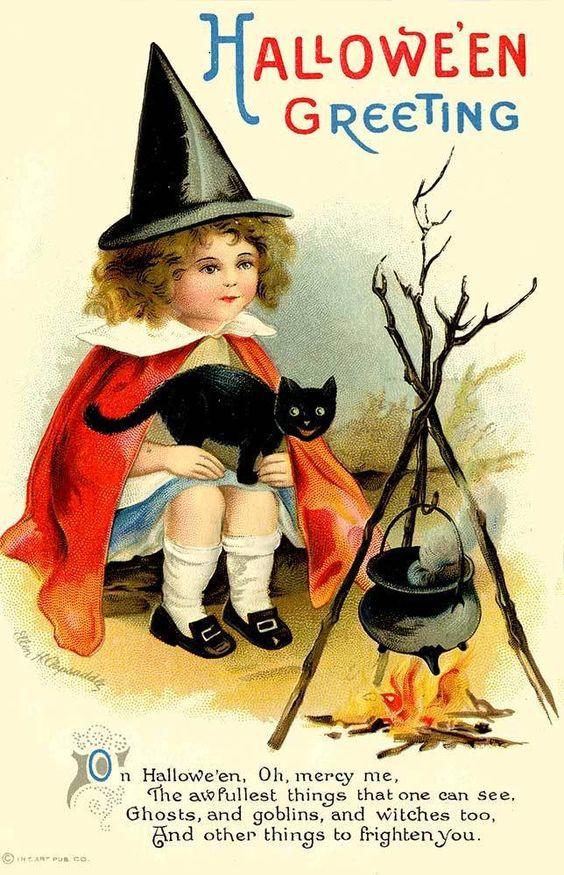 Halloween Clapsaddle Witch Black Cat Postcard