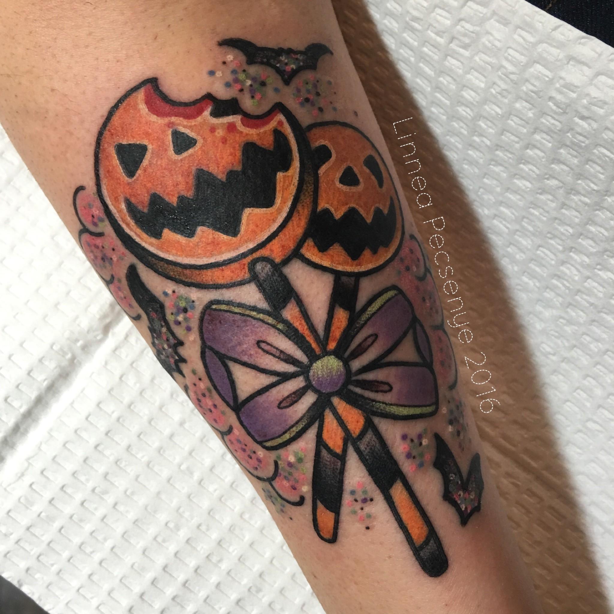 Halloween Jack O Lantern Lollipops tattoo design