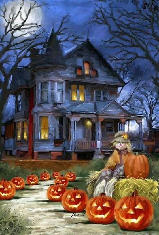 Halloween vintage painted postcard