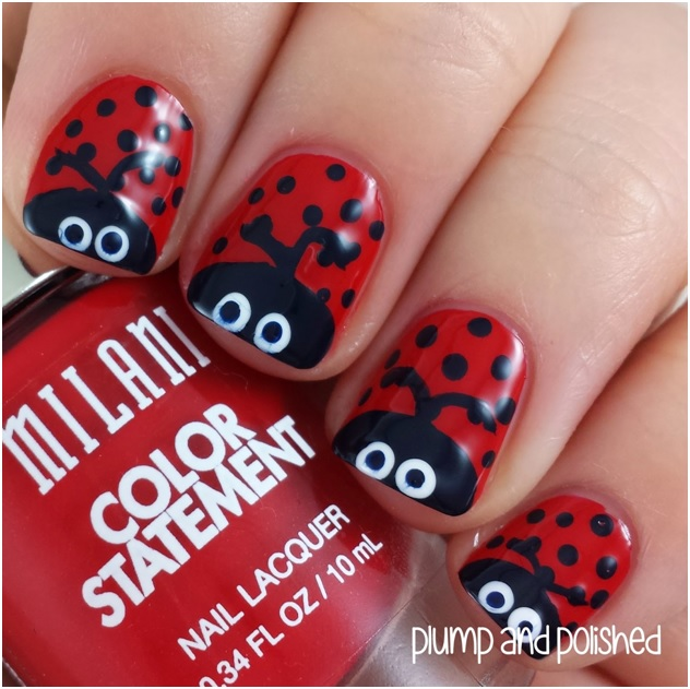 Ladybugs nail art