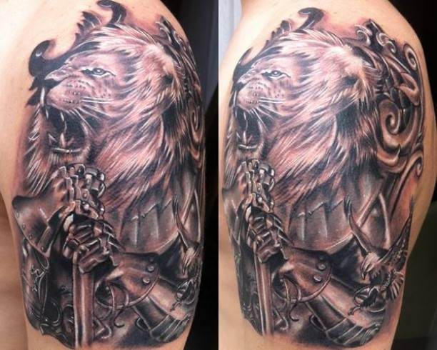Lion With Armor Tattoo On Shoulder