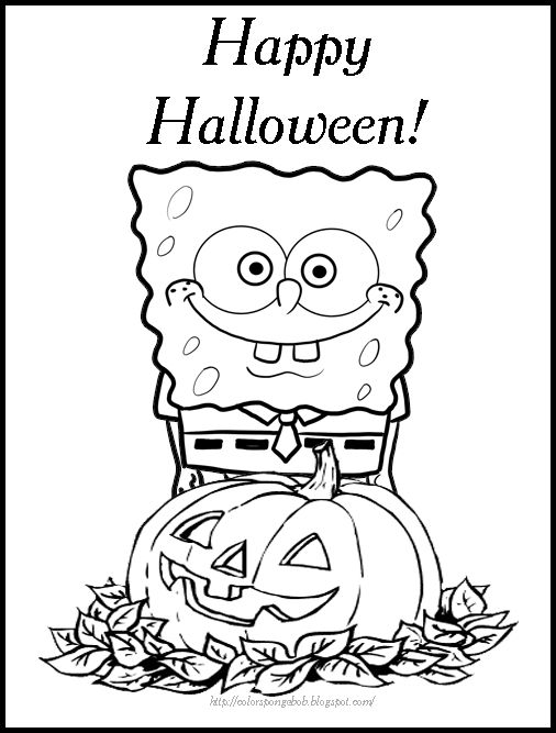 Printable Halloween SPONGEBOB COLORING PAGES