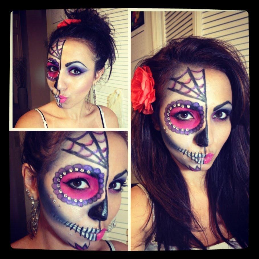 Rhinestones Sugar Skull face paint