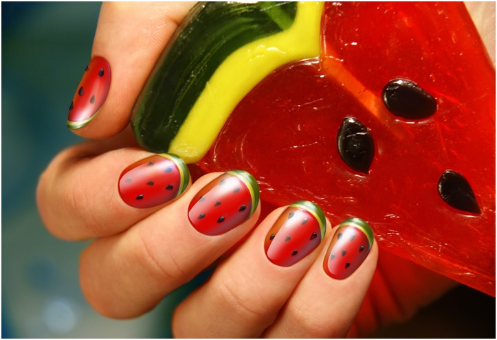 Stylish Watermelon Manicure