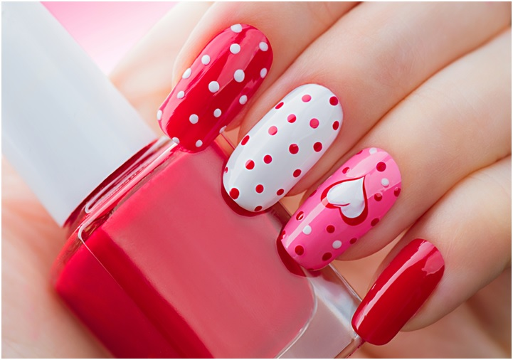 bright Valentine`s Day heart and polka dots Nails