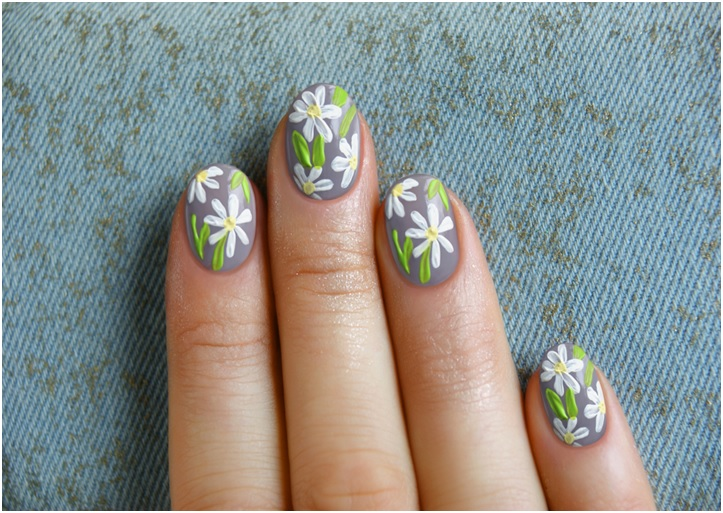 chamomile flowers summer nail designs