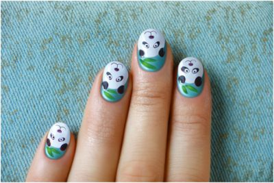 cute panda nail art