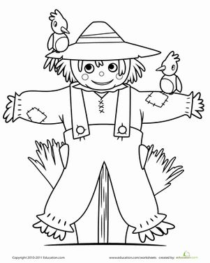cute scarecrow halloween coloring picture