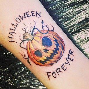 evil jack o lantern face tattoo design for Halloween