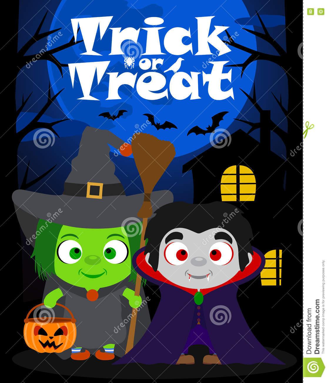 halloween-background-trick-treating-children-vector-costume