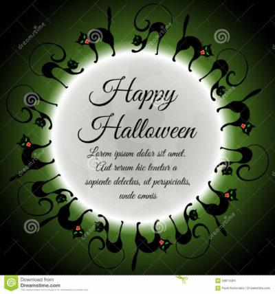 halloween-greeting-card-elegant-design-moon-green-sky-different-cats-around-moon-vector-illustration