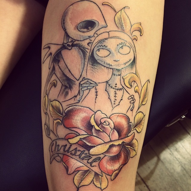 illustrative nightmare before christmas Jack and Sally love tattoo