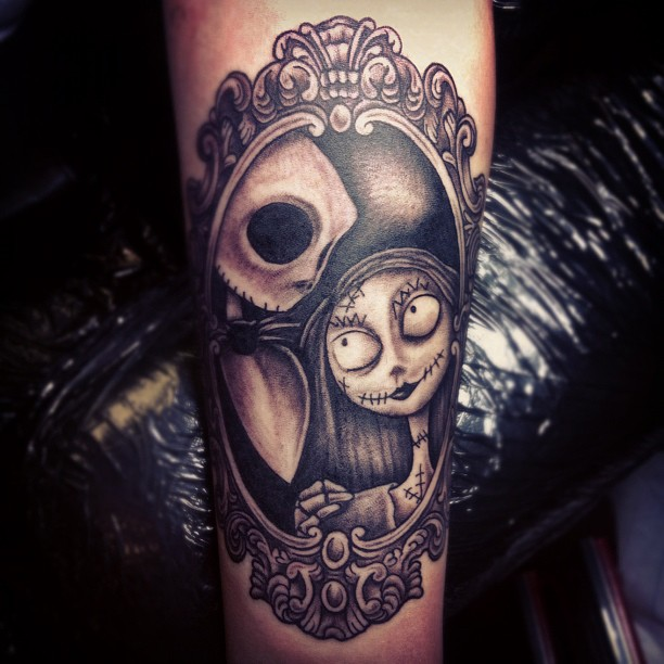 jack and sally couples thigh frame tattoos