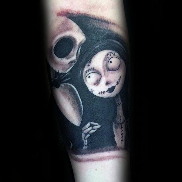 jack skellington and sally art tattoo
