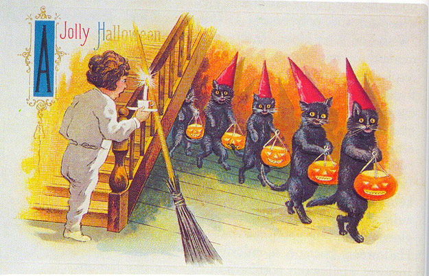 jolly halloween postcard