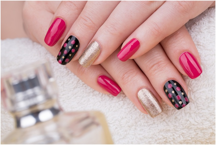 pink-yellow-gold and black nail art