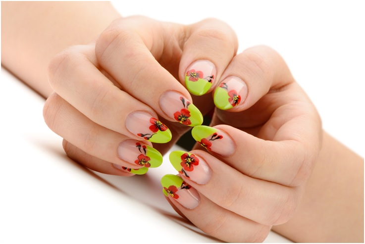 poppy flowers nail art