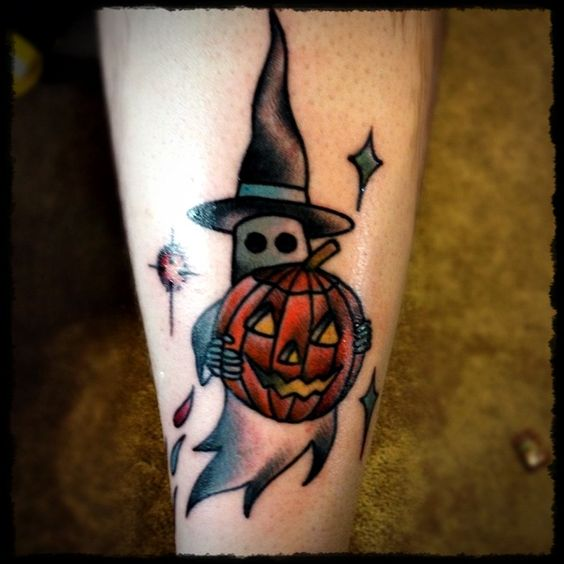 pumpkin ghost Halloween tattoo ideas