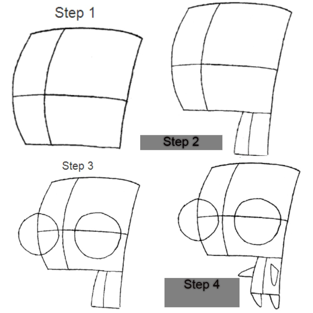 How to draw Zim step by step
